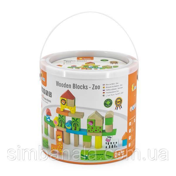 Деревянные кубики Viga Toys Зоопарк, 50 шт., 3 см (50286)