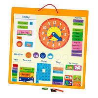 Магнитный календарь Viga Toys с часами, на английском языке (50377), фото 1