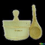 Набор Greus сосна (шайка 4 л + черпак) с пластиковой вставкой для бани и сауны, Украина, фото 2