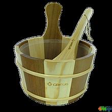 Набір Greus сосна/ялина (зграя 4 л + черпак) з пластиковою вставкою для лазні та сауни, Україна