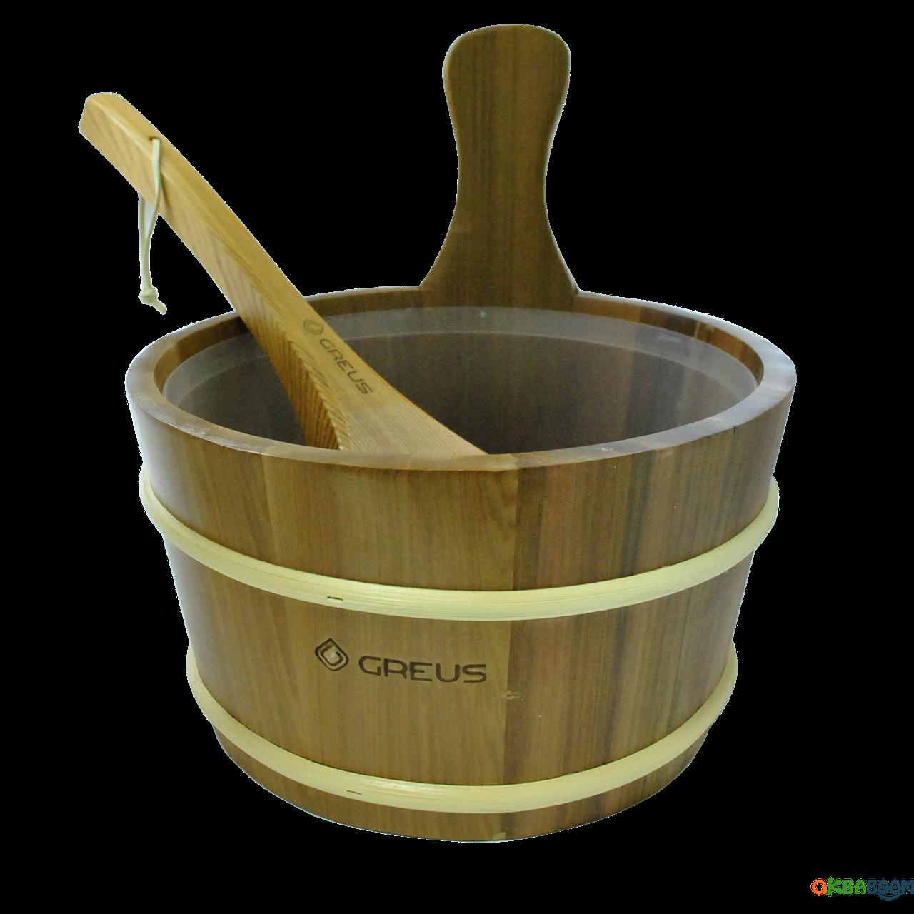 Набор Greus кедр (шайка 4 л + черпак) с пластиковой вставкой для бани и сауны, Украина