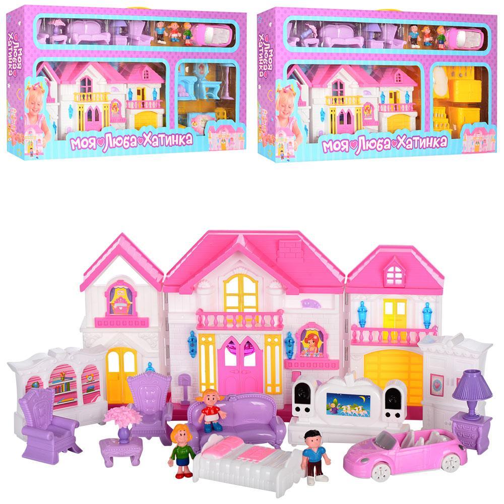 """Розкладний ляльковий будиночок """"Моя люба хатинка"""", з меблями та фігурками WD-922A-BE (3 види)"""