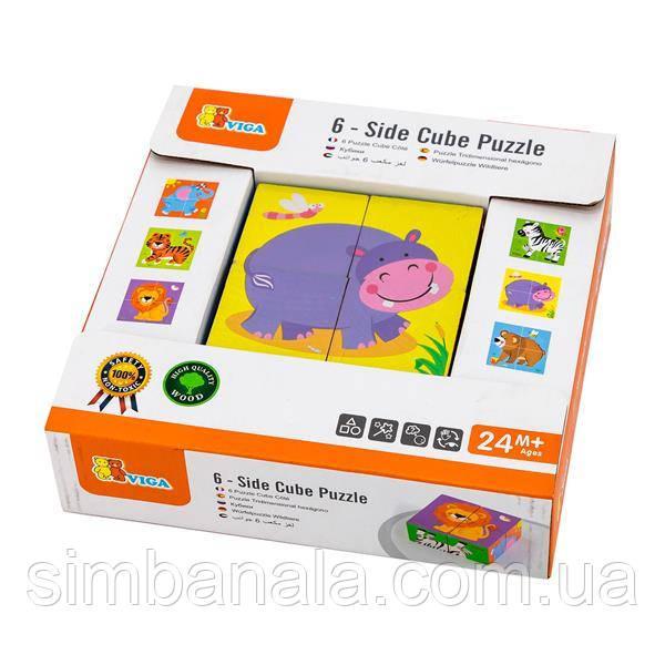 Деревянные кубики-пазл Viga Toys Зверята (50836)
