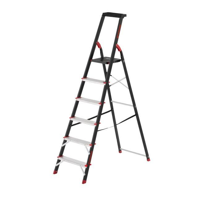Стремянка 6 ступеней, лоток для инвентаря, стальной профиль, высота верхней ступени 1280мм, 481х1138х1787мм,
