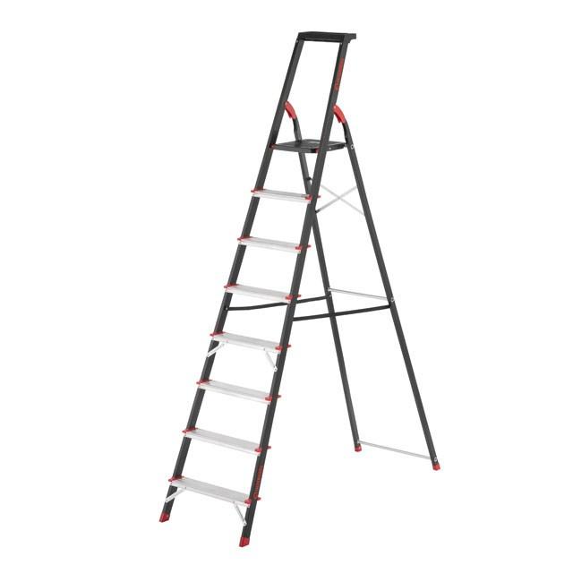 Стремянка 8 ступеней, лоток для инвентаря, стальной профиль, высота верхней ступени 1720 мм, 527х1437х2221мм,