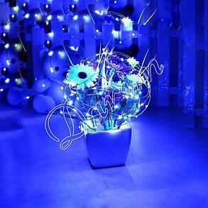 Гирлянда для декора Роса синий 10 м, на батарейках и USB, 2 режима свечения, фото 2