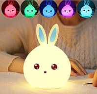 Детский настольный ночник-светильник на аккумуляторе зайчик, мягкий силиконовый светильник зайка