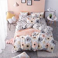 Комплект двуспального постельного белья бязь голд с цветами светлое