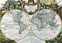 Старинная карта 88см х 62см на ткани