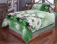 Комплект евро постельного белья бязь голд с цветами светлое