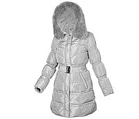 Пуховик пальто женское зимнее с натуральным пухом с натуральным мехом лисы с капюшоном MIRAGE