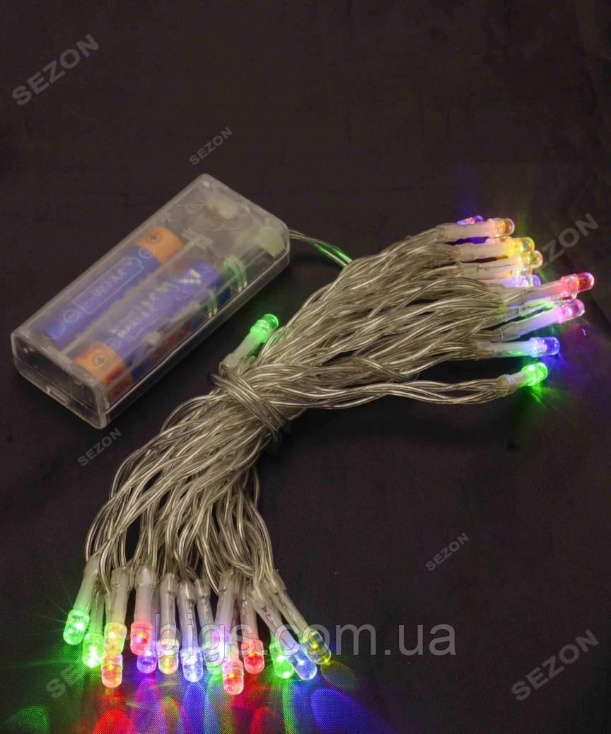 Гирлянда на батарейках светодиодная 80 LED, 8м мультиколор