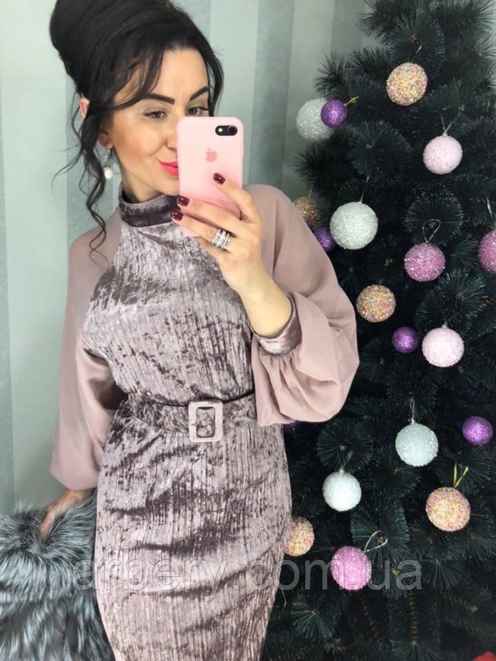 Шикарное бархатное платье с шифоновым рукавом