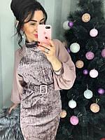 Шикарное бархатное платье с шифоновым рукавом, фото 1
