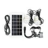 Фонарь аккумуляторный 1LED 5W+22 SMD, выносная солнечная панель, выносные 2 led лампы, кабель для зарядки, фото 2