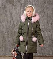 Зимняя куртка пальто на девочку удлиненная курточка детская теплая на синтепоне хаки 6-11 лет, фото 1