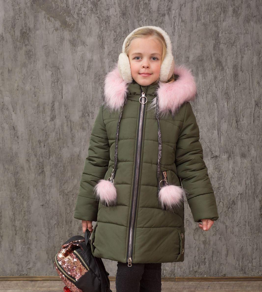 Зимняя куртка пальто на девочку удлиненная курточка детская теплая на синтепоне хаки 6-11 лет