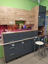 Кухня Фарб. високий глянець 600В/360 1дв. бар дуб золотий/графіт темний глянець (Комфорт)