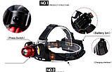 Фонарь налобный аккумуляторный 2в1 YT-1500, фото 4