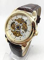 Мужские механические часы Emporio Armani  (Эмпорио Армани), золото с коричневым ремешком ( код: IBW529YOK )