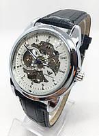 Мужские механические часы Emporio Armani  (Эмпорио Армани), серебро с черным ремешком ( код: IBW529SBO )