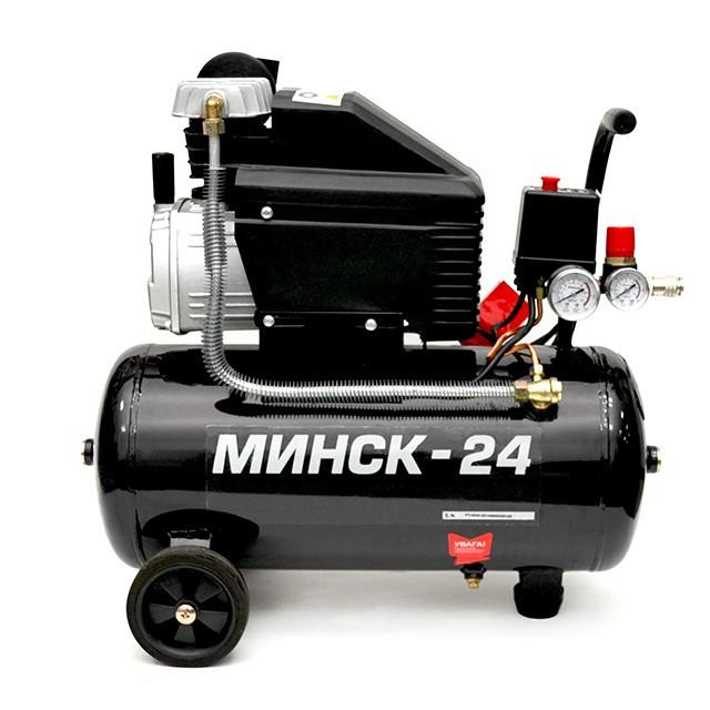 Компрессор 24 л, 1,1 кВт, 220 В, 8 атм, 190 л/мин INTERTOOL PT-0020