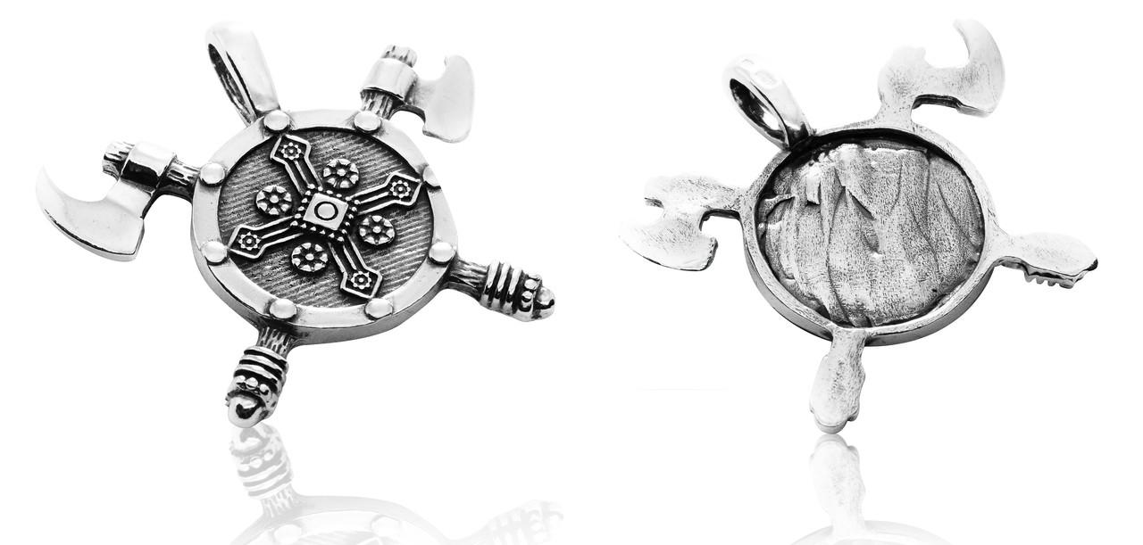 Кулон серебряный Две Секиры и Щит Викинга ПС-30 Б