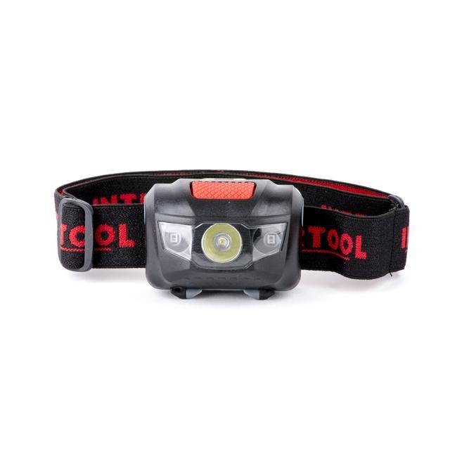 Ліхтар налобний світлодіодний, пиловологозахищений корпус, чотири режиму роботи, 1 Вт + 2 LED, 3 батарейки ААА.