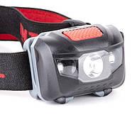Ліхтар налобний світлодіодний, пиловологозахищений корпус, чотири режиму роботи, 1 Вт + 2 LED, 3 батарейки ААА., фото 9