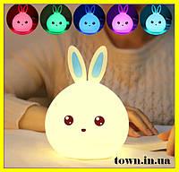 Детский настольный ночник-светильник зайчик на аккумуляторе, мягкий силиконовый светильник зайка