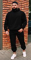 Костюм спортивный Оверсайз мужской зимний теплый с капюшоном на манжетах, Черный