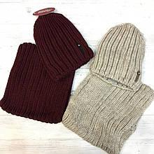 Комплект шапка на флисе и баф Крупная резинка Бордовый