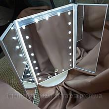 👠Зеркало с подсветкой MAGIC magnifying MAKEUP MIRROR тройное 22 LED/ белое,  чёрное,  розовое🛍