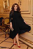 Маленькое черное платье больших размеров, украшено пайетками с 50 по 60 размер, фото 1