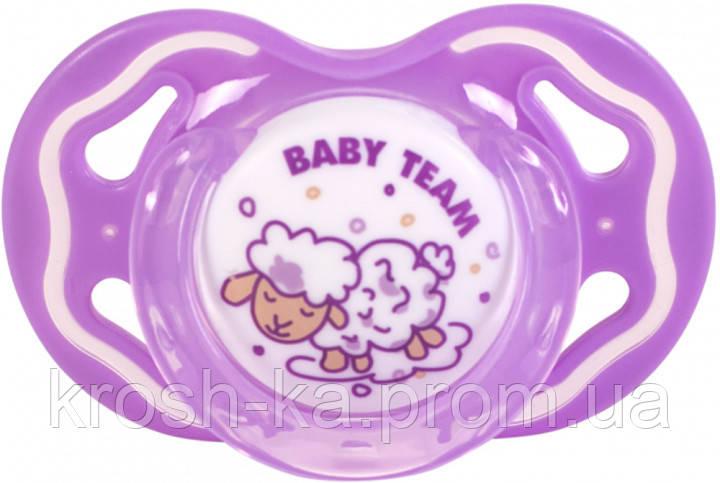 Пустышка силиконовая классическая 6м+ Baby Team 3014