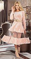 Бархатное женское пудровое платье