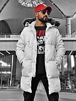 Парка куртка белая мужская удлиненная стильная Мужские зимние куртки-парки на меху Турция длинная модная зима