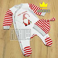 Новогодний человечек р (62) 68 2-4 мес комбинезон костюм для малышей на Новый год Merry Christmas 8025 Красный