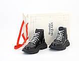 Женские ботинки Alexander McQueen в стиле александр маккуин Черные НА МЕХУ (Реплика ААА+), фото 2