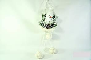 Новогодний декор подвесной Снеговик с шарами  23 см