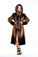 Шуба из бобра женская длинная коричневая деграде с капюшоном, фото 1