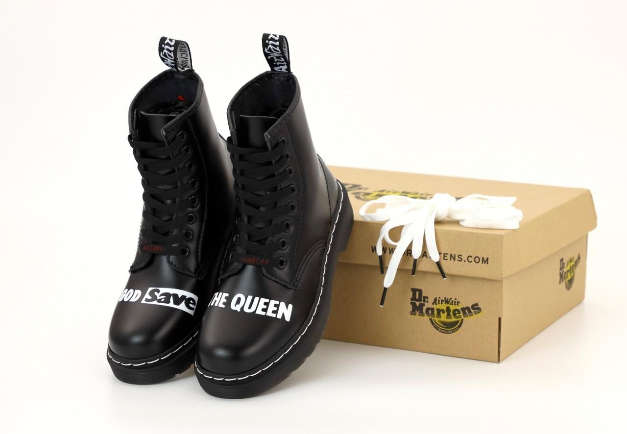 Женские ботинки в стиле Dr Martens Sex Pistols Черные (Реплика ААА+)