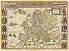 Старинная карта Европы 100см х 75см