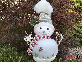Декоративный новогодний снеговик в шляпе 42 см