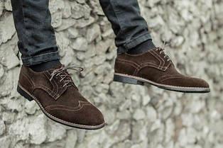 Туфли броги мужские из натурального замша коричневые 41