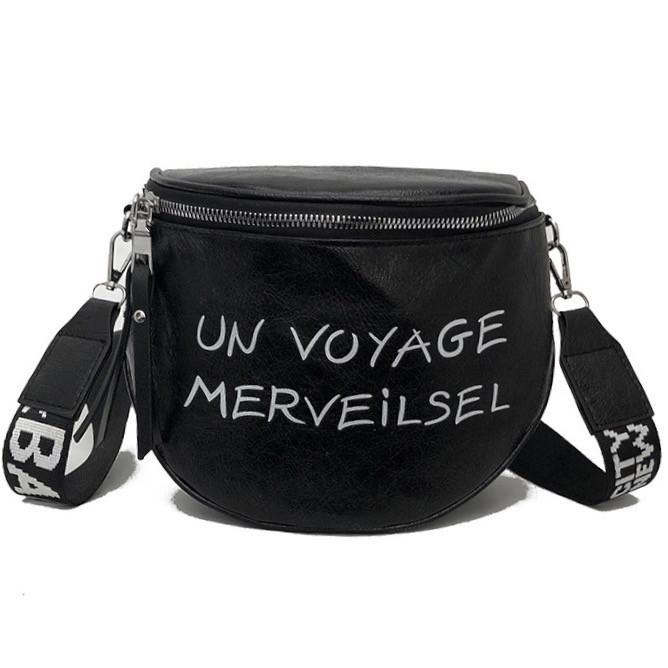 Женская классическая круглая сумка на широком ремне черная