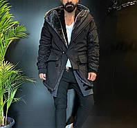 Зимняя парка мужская черная удлиненная стильная Мужские зимние куртки-парки на меху Турция длинная модная