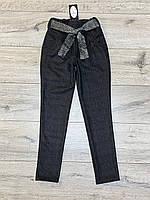 Стрейчевые кашемировые брюки на байке ( с карманами) для девочек. 140- 152 рост.
