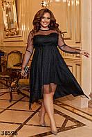 Нарядное женское платье из сетки с блеском на подкладке с 50 по 60 размер, фото 1