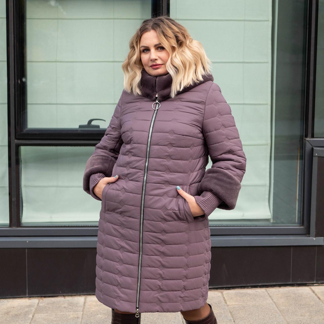 Зимові жіночі куртки великих розмірів 50 темна пудра
